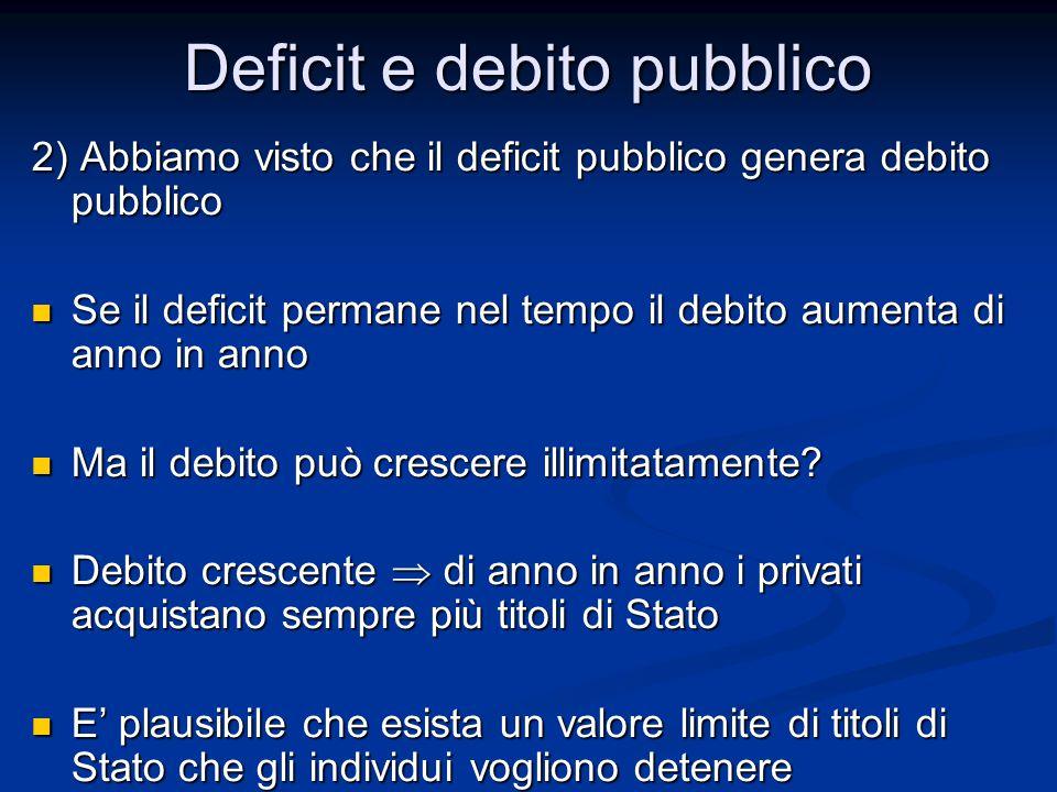 2) Abbiamo visto che il deficit pubblico genera debito pubblico Se il deficit permane nel tempo il debito aumenta di anno in anno Se il deficit permane nel tempo il debito aumenta di anno in anno Ma il debito può crescere illimitatamente.