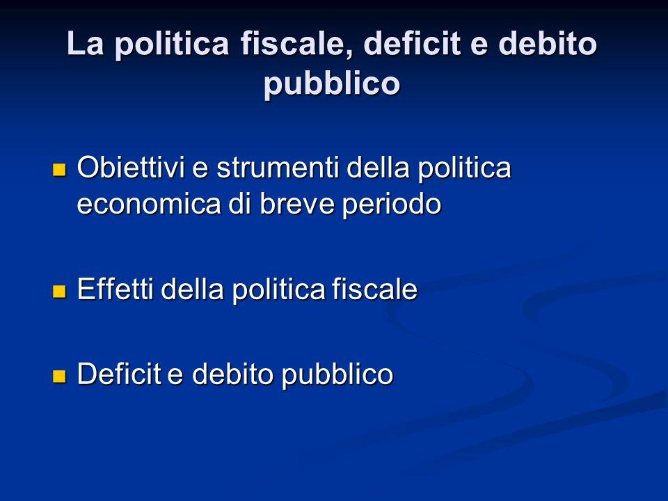 Obiettivi e strumenti della politica economica di breve periodo Obiettivi e strumenti della politica economica di breve periodo Effetti della politica fiscale Effetti della politica fiscale Deficit e debito pubblico Deficit e debito pubblico La politica fiscale, deficit e debito pubblico