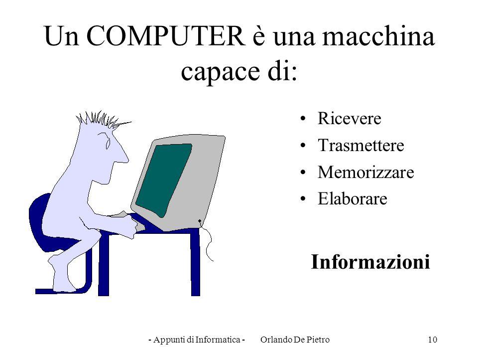 - Appunti di Informatica - Orlando De Pietro10 Un COMPUTER è una macchina capace di: Ricevere Trasmettere Memorizzare Elaborare Informazioni