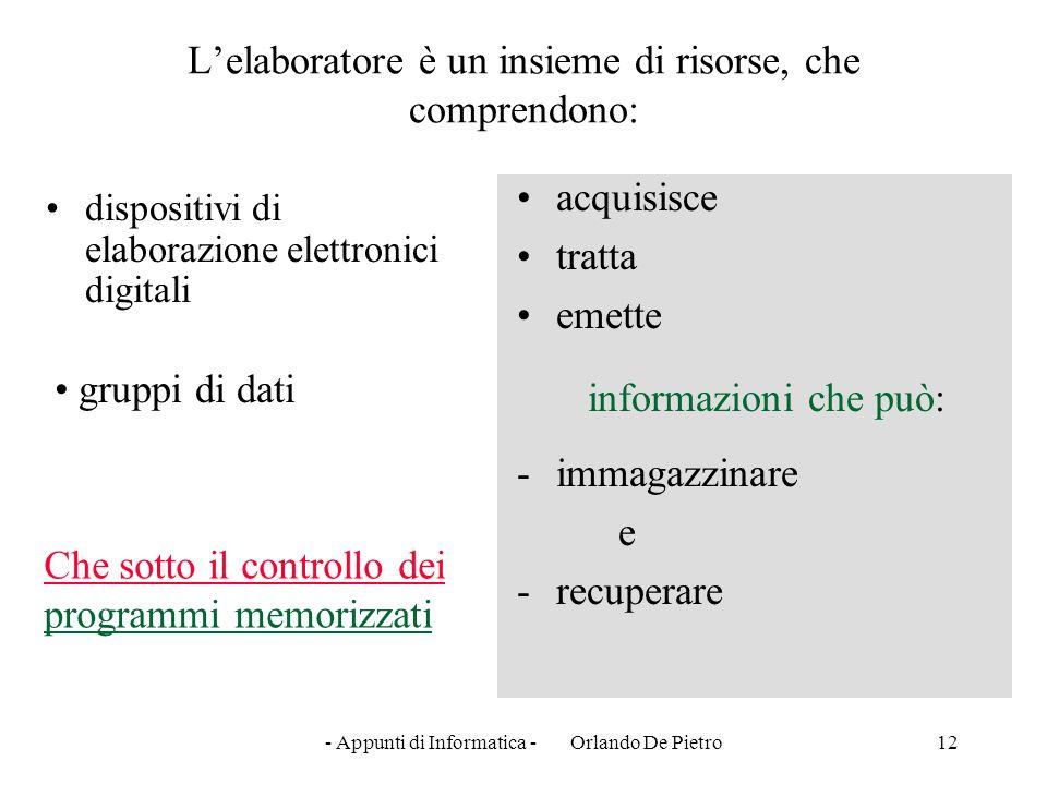 - Appunti di Informatica - Orlando De Pietro12 L'elaboratore è un insieme di risorse, che comprendono: dispositivi di elaborazione elettronici digital