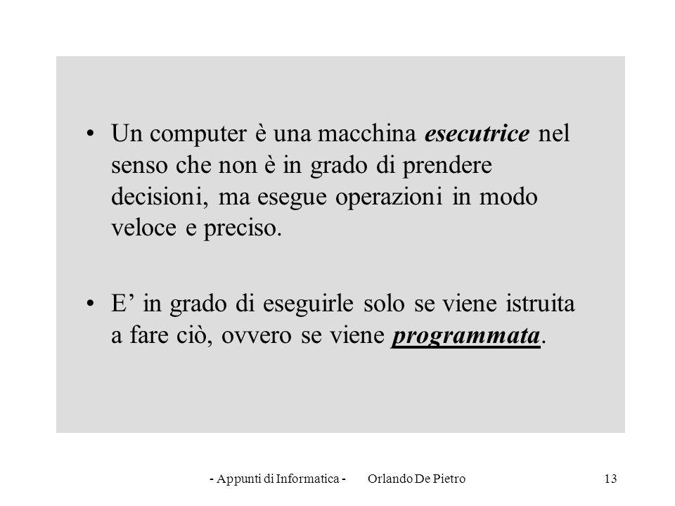 - Appunti di Informatica - Orlando De Pietro13 Un computer è una macchina esecutrice nel senso che non è in grado di prendere decisioni, ma esegue ope