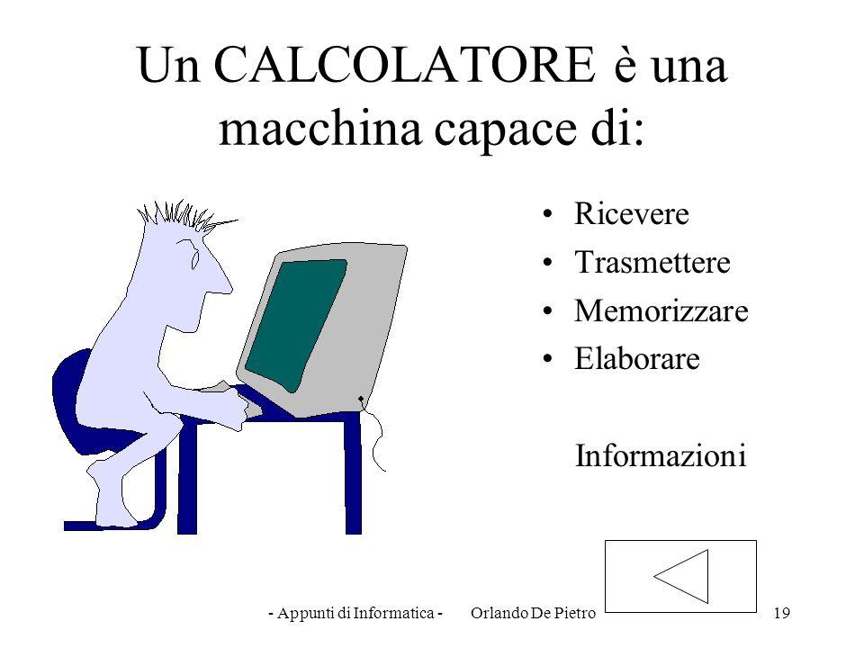 - Appunti di Informatica - Orlando De Pietro19 Un CALCOLATORE è una macchina capace di: Ricevere Trasmettere Memorizzare Elaborare Informazioni