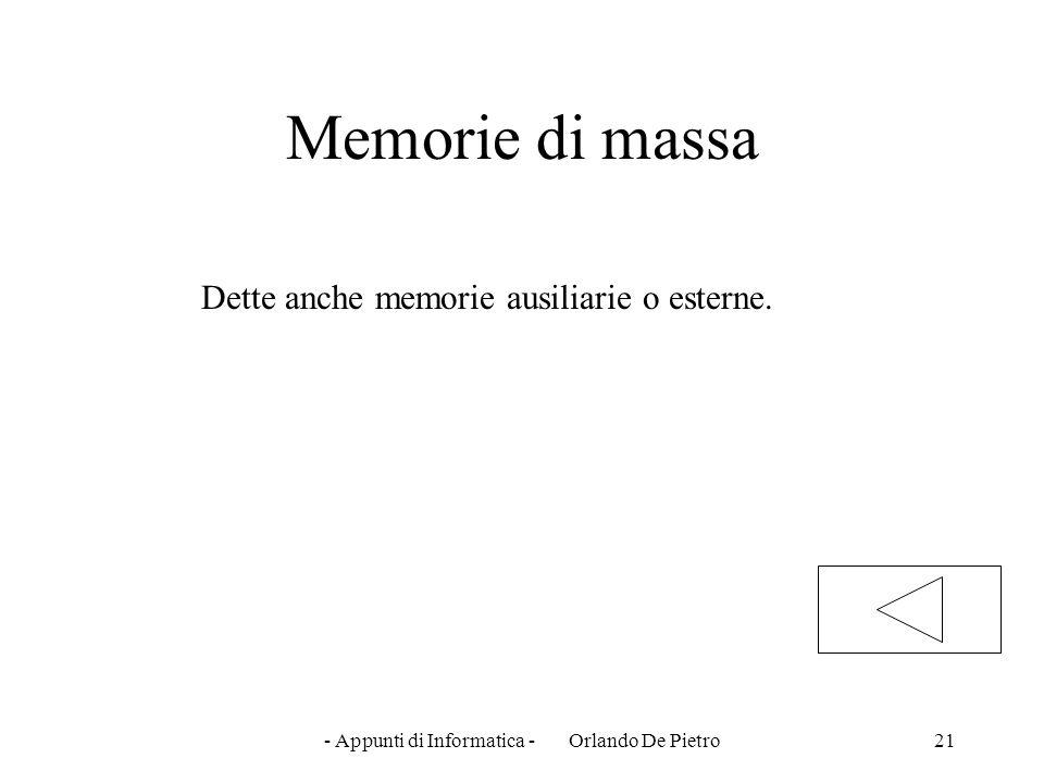 - Appunti di Informatica - Orlando De Pietro21 Memorie di massa Dette anche memorie ausiliarie o esterne.