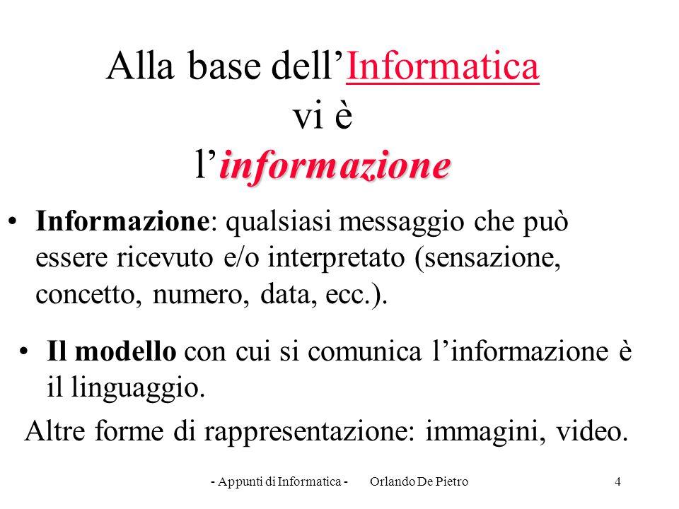 4 informazione Alla base dell'Informatica vi è l'informazione Informazione: qualsiasi messaggio che può essere ricevuto e/o interpretato (sensazione,
