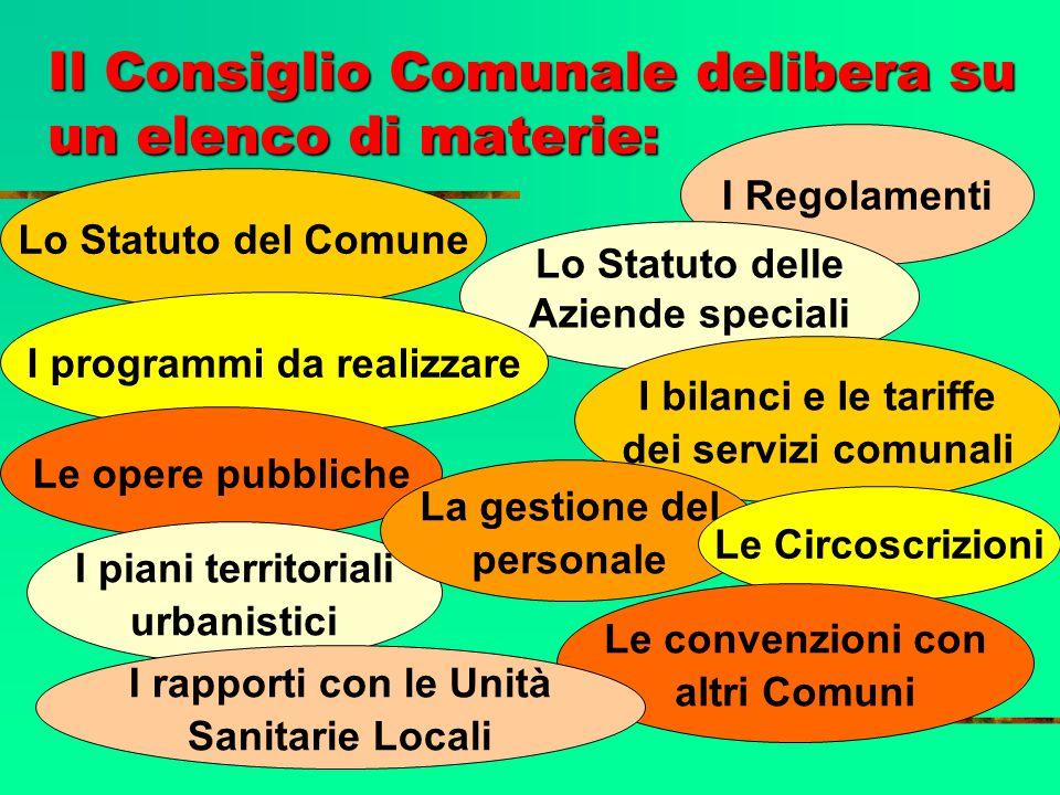I Regolamenti Il Consiglio Comunale delibera su un elenco di materie: Lo Statuto delle Aziende speciali Lo Statuto del Comune I programmi da realizzar