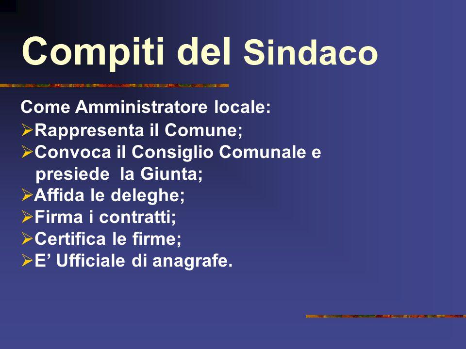 Compiti del Sindaco Come Amministratore locale:  Rappresenta il Comune;  Convoca il Consiglio Comunale e presiede la Giunta;  Affida le deleghe; 