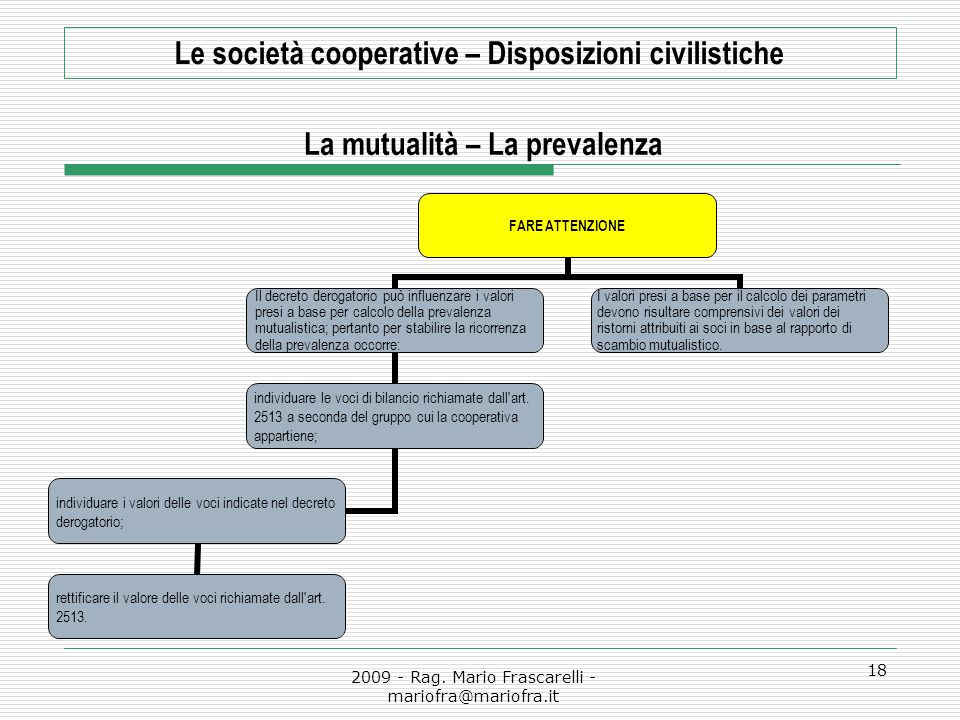 2009 - Rag. Mario Frascarelli - mariofra@mariofra.it 18 Le società cooperative – Disposizioni civilistiche La mutualità – La prevalenza FARE ATTENZION