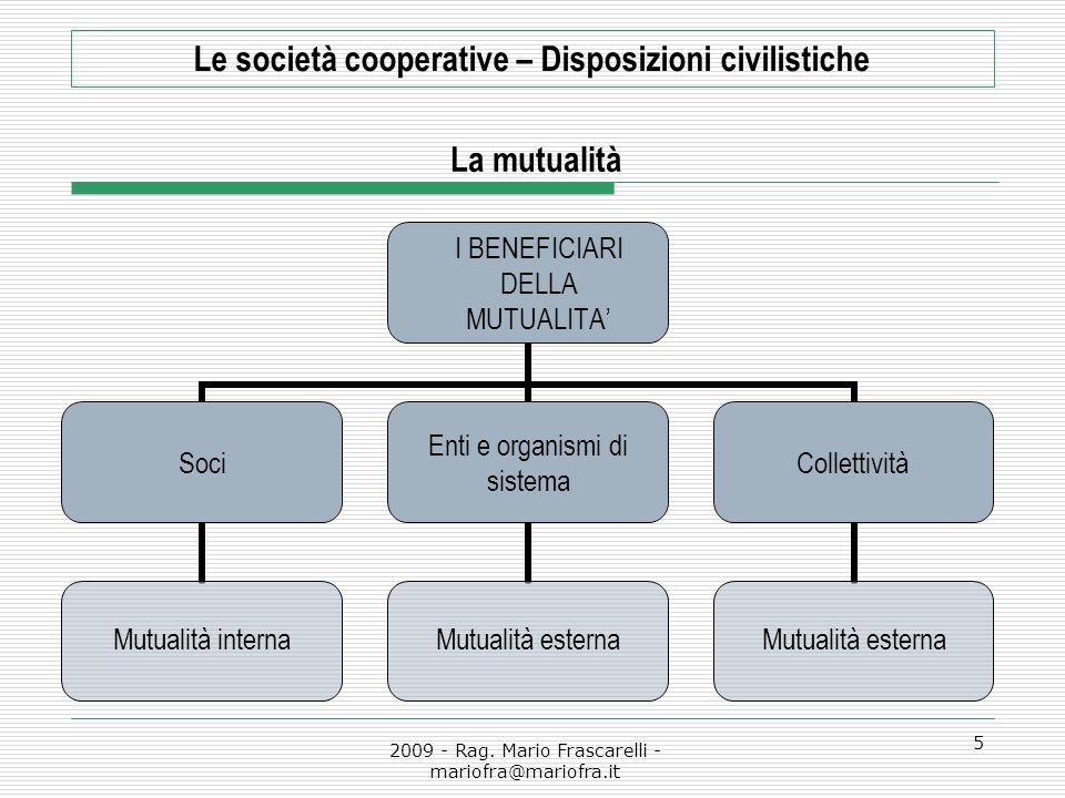 2009 - Rag. Mario Frascarelli - mariofra@mariofra.it 5 Le società cooperative – Disposizioni civilistiche La mutualità I BENEFICIARI DELLA MUTUALITA'