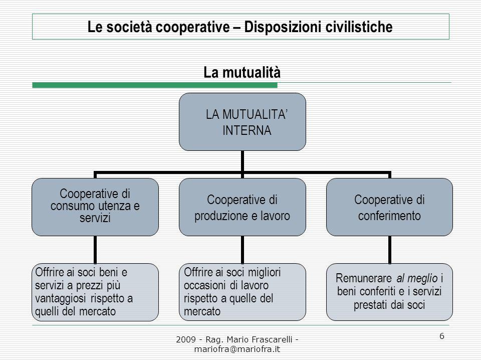 2009 - Rag. Mario Frascarelli - mariofra@mariofra.it 6 Le società cooperative – Disposizioni civilistiche La mutualità LA MUTUALITA' INTERNA Cooperati