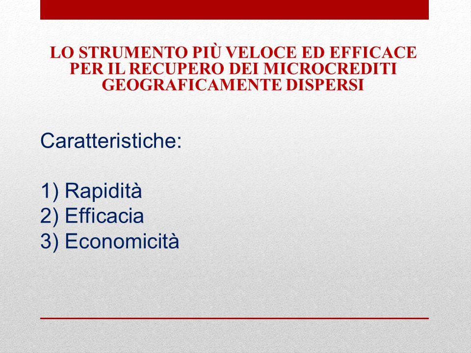 Caratteristiche: 1) Rapidità 2) Efficacia 3) Economicità LO STRUMENTO PIÙ VELOCE ED EFFICACE PER IL RECUPERO DEI MICROCREDITI GEOGRAFICAMENTE DISPERSI