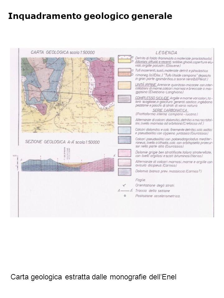 Inquadramento geologico generale Carta geologica estratta dalle monografie dell'Enel