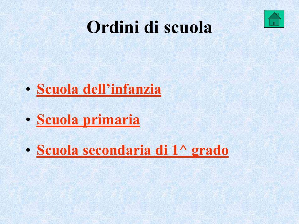 Ordini di scuola Scuola dell'infanzia Scuola primaria Scuola secondaria di 1^ grado