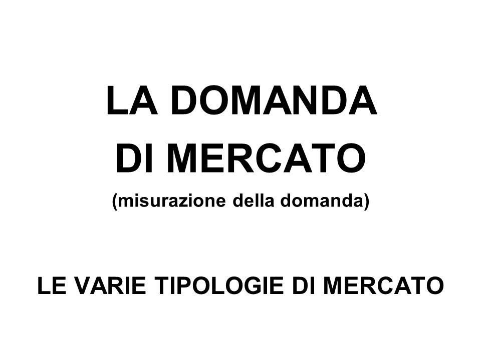 LA DOMANDA DI MERCATO (misurazione della domanda) LE VARIE TIPOLOGIE DI MERCATO