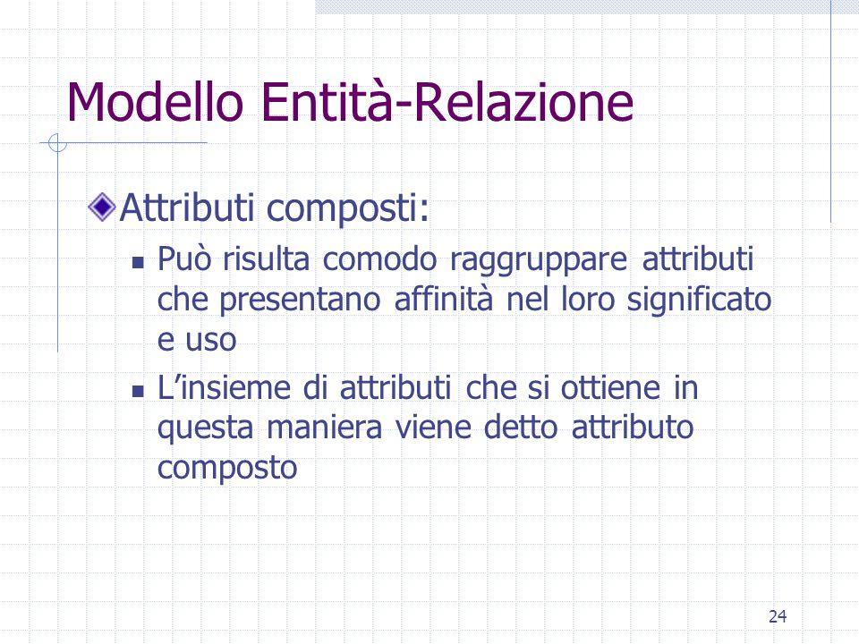 24 Modello Entità-Relazione Attributi composti: Può risulta comodo raggruppare attributi che presentano affinità nel loro significato e uso L'insieme di attributi che si ottiene in questa maniera viene detto attributo composto