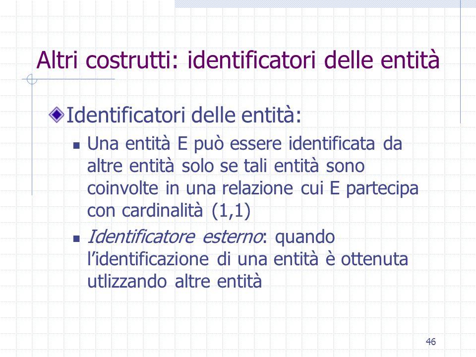 46 Altri costrutti: identificatori delle entità Identificatori delle entità: Una entità E può essere identificata da altre entità solo se tali entità sono coinvolte in una relazione cui E partecipa con cardinalità (1,1) Identificatore esterno: quando l'identificazione di una entità è ottenuta utlizzando altre entità