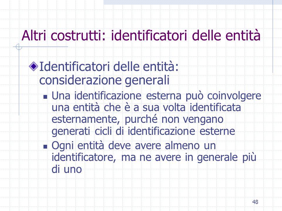 48 Altri costrutti: identificatori delle entità Identificatori delle entità: considerazione generali Una identificazione esterna può coinvolgere una e