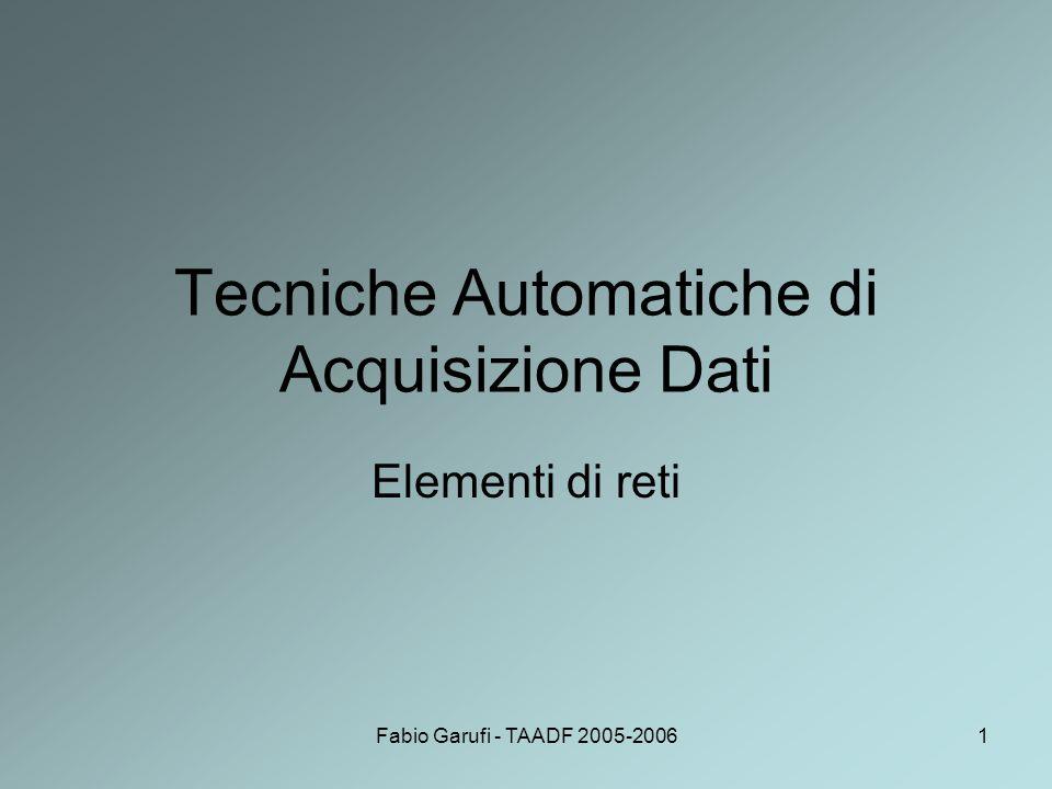 Fabio Garufi - TAADF 2005-200632 Altre pile di protocollo Oltre ad OSI di cui si è già parlato, altre architetture di rete sono ad esempio: –SNA (System Network Architecture), architettura della rete IBM; –DNA (Digital Network Architecture), meglio nota come DECnet, la rete della Digital Eq.