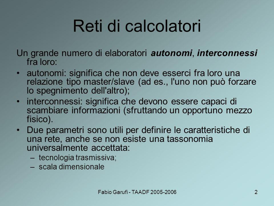 Fabio Garufi - TAADF 2005-20063 Tecnologia trasmissiva Ci sono due tipologie per quanto riguarda la tecnologia trasmissiva: reti broadcast:dotate di un unico canale di comunicazione che è condiviso da tutti gli elaboratori.