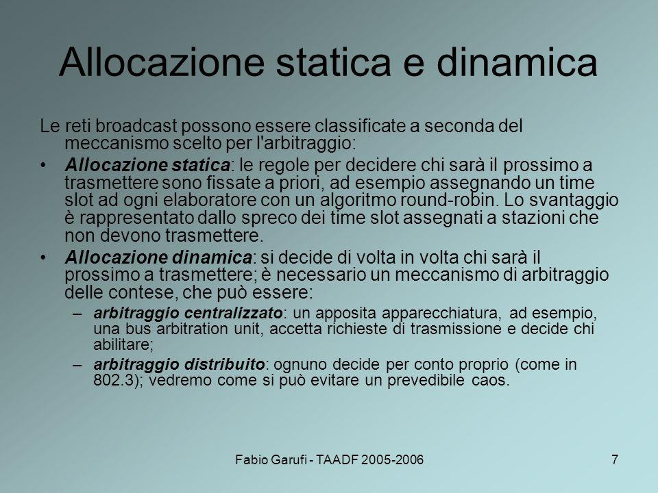 Fabio Garufi - TAADF 2005-200628 I livelli del modello OSI Livello fisico: definisce le caratteristiche meccaniche, elettriche e procedurali delle interfacce di rete e le caratteristiche del mezzo fisico.