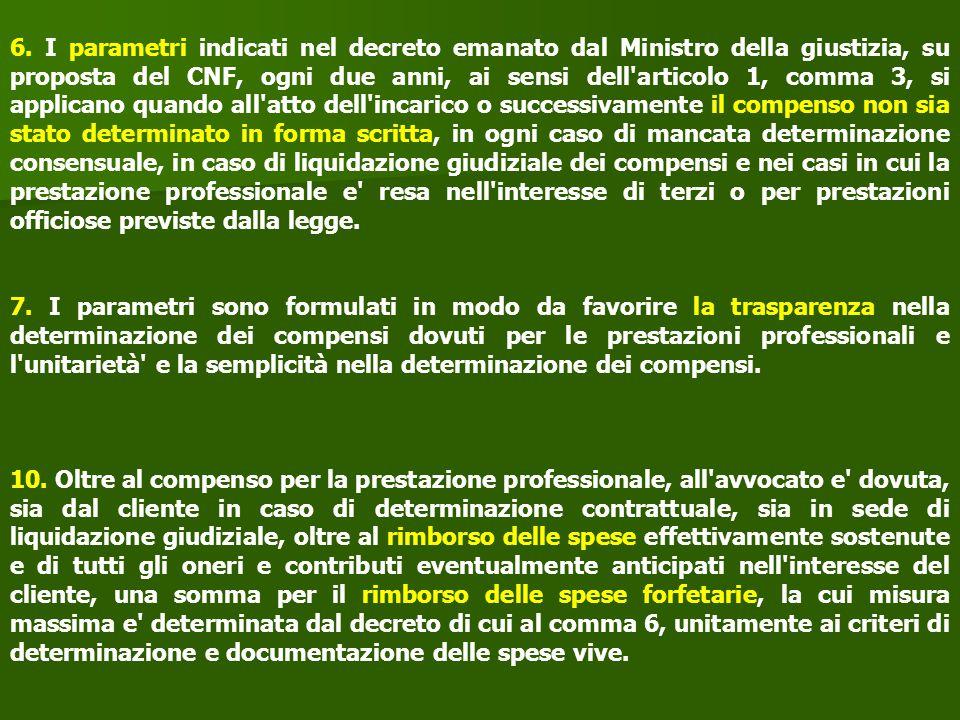 6. I parametri indicati nel decreto emanato dal Ministro della giustizia, su proposta del CNF, ogni due anni, ai sensi dell'articolo 1, comma 3, si ap