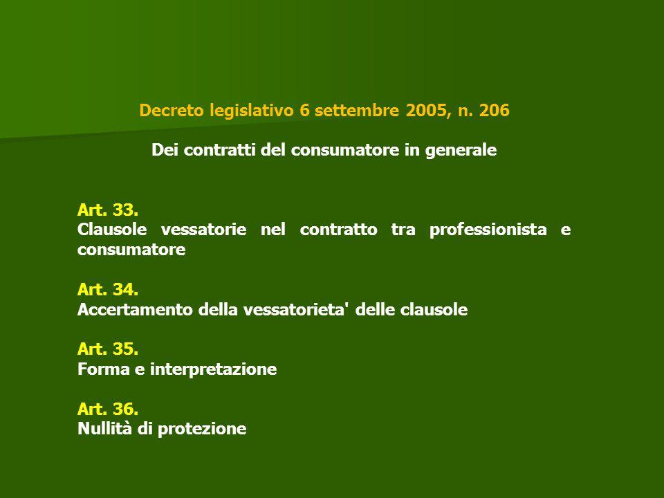 Decreto legislativo 6 settembre 2005, n. 206 Dei contratti del consumatore in generale Art. 33. Clausole vessatorie nel contratto tra professionista e