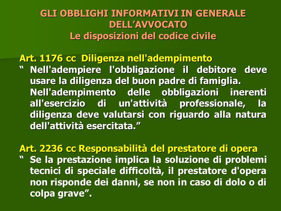 """GLI OBBLIGHI INFORMATIVI IN GENERALE DELL'AVVOCATO Le disposizioni del codice civile Art. 1176 cc Diligenza nell'adempimento """"Nell'adempiere l'obbliga"""