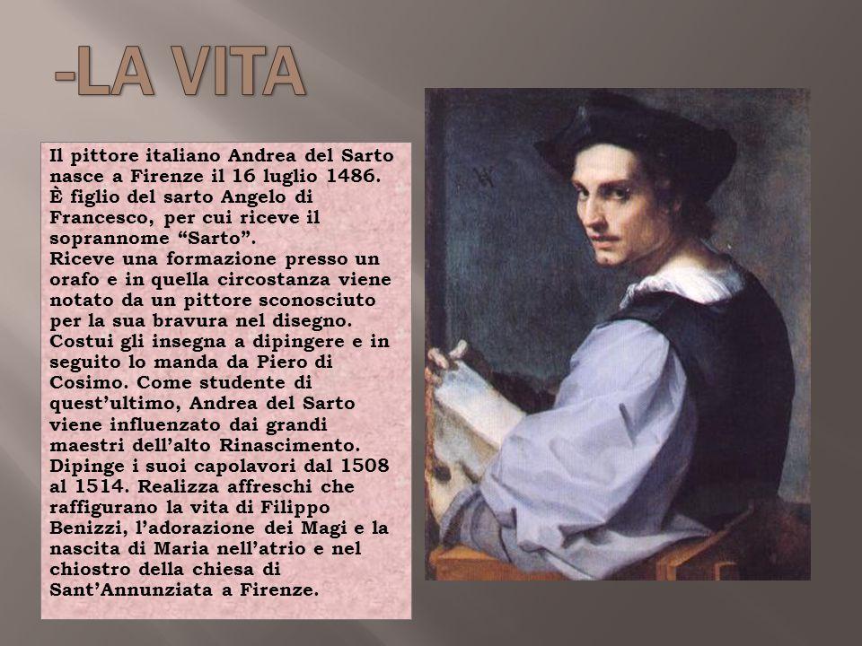 """Il pittore italiano Andrea del Sarto nasce a Firenze il 16 luglio 1486. È figlio del sarto Angelo di Francesco, per cui riceve il soprannome """"Sarto""""."""