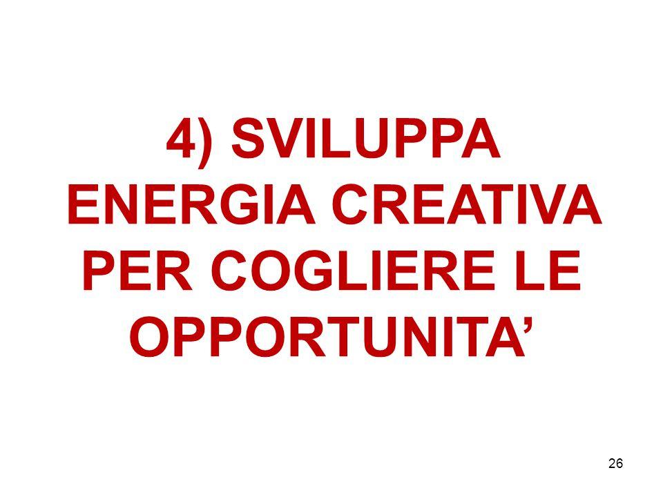4) SVILUPPA ENERGIA CREATIVA PER COGLIERE LE OPPORTUNITA' 26
