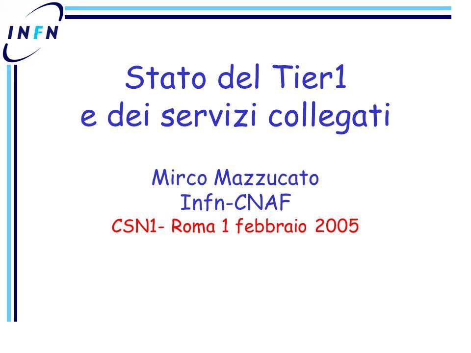 Stato del Tier1 e dei servizi collegati Mirco Mazzucato Infn-CNAF CSN1- Roma 1 febbraio 2005