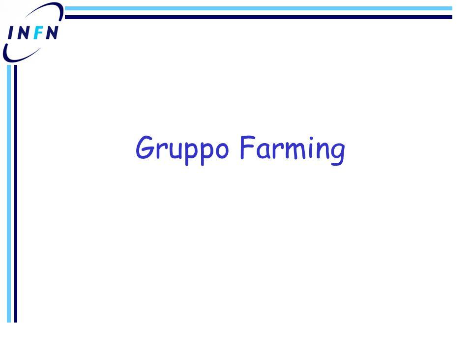 Gruppo Farming (1) Funzioni –Installazione & gestione dei WNs della farm principale (~ 600 WNs) Sistema di installazione –configurazione OS & middleware LCG Gestione WNs Gestione supporto HW Manutenzione e gestione del batch scheduler Gestione interfacce grid –Gestione delle 2 farm legacy (CDF: ~50 WNs, BABAR: ~50 WNs) Stato ed evoluzione –Migrazione OS da RH 7.3 a SL3 ~ 50% farm completato Inizialmente solo accesso tradizionale (  upgrade a LCG 2.3.0 in corso) –Migrazione Batch System da Torque a LSF su farm con SL3 Batch system precedente (Torque+maui) risultato non scalabile Studio nuova politica allocazione dinamica risorse per ottimizzare uso –Upgrade a LCG 2.3.0 sulla farm con SL3 entro meta' Febbraio Integrazione middleware LCG in sistema di installazione Quattor Integrazione di Quattor con db risorse CNAF, webtool configurazione automatica DNS, DHCP –Studio single point of failure (Marzo) –Inclusione farm FIRB (Marzo) –Inclusione farm CDF, BABAR (Aprile-Maggio) –Farm teorici