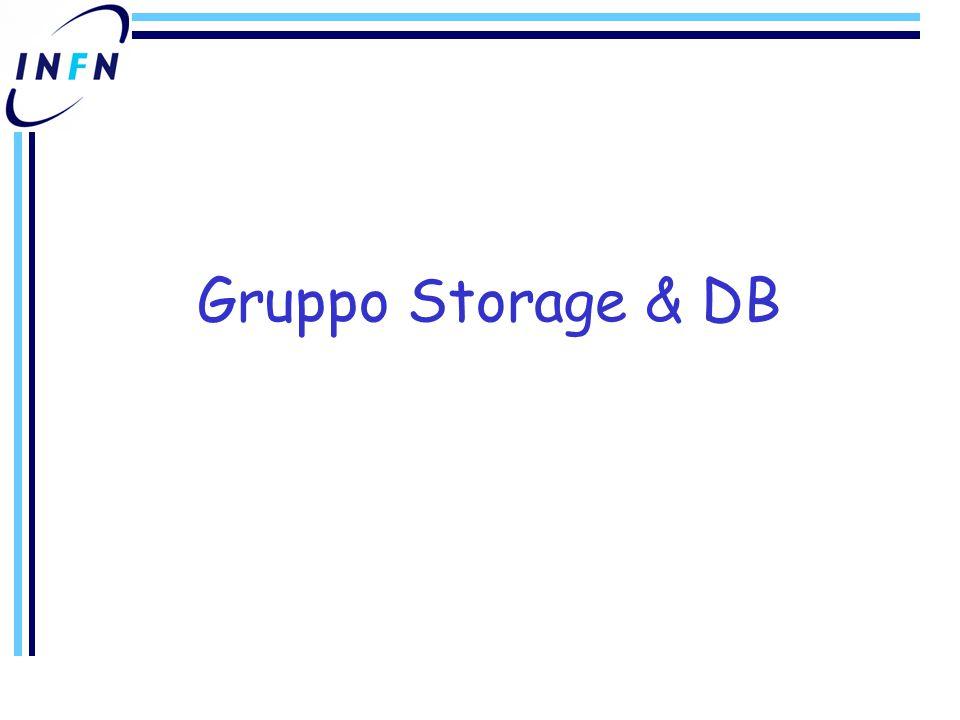 Gruppo Storage & DB (1) Funzioni –Installazione, gestione sw, gestione supporto hw sistemi disco 2 sistemi SAN (~ 225 TB) 4 sistemi NAS (~ 20TB) + BABAR (~ 30TB) + CDF (~ 12TB) –Installazione e gestione hw/sw CASTOR Libreria STK con 6 drive LTO2 e 2 9940B –1200 nastri LTO2 (200 GB) –680 nastri 9940B (200 GB) Gestione stager, diskpool, e server vari –Configurazione e gestione accessi classici (nfs, rfiod, GPFS) e grid (gridftp, SRM) Test con filesystem paralleli e/o distribuiti –Gestione DB Oracle per Castor, test RLS & LCG 3D PostgreSQL per DB hw del Tier 1