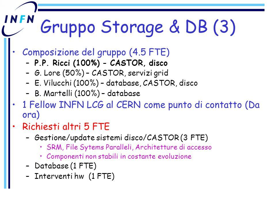 Gruppo Storage & DB (3) Composizione del gruppo (4.5 FTE) –P.P.