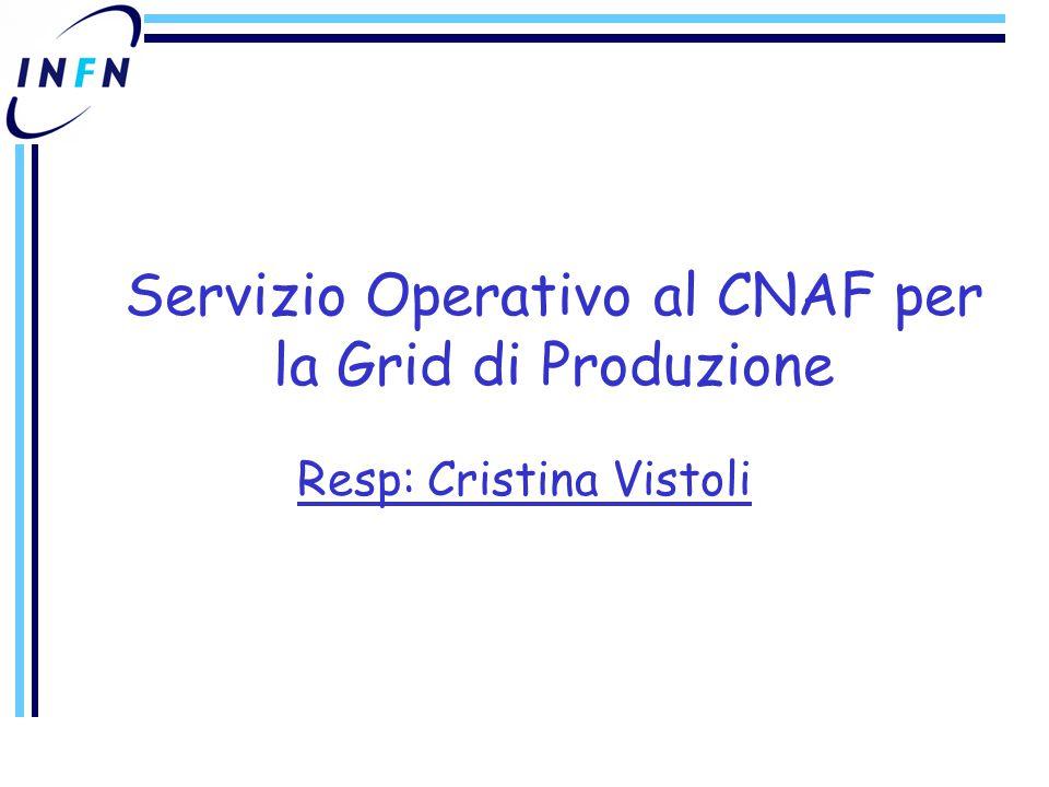 Servizio Operativo al CNAF per la Grid di Produzione Resp: Cristina Vistoli