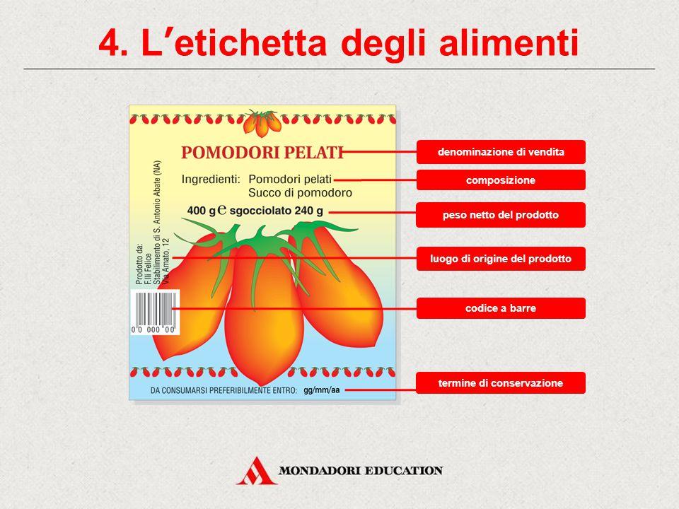 4. L'etichetta degli alimenti Denominazione di vendita Composizione Peso netto Istruzioni per l'uso Termine di conservazione Marchio Etichetta nutrizi