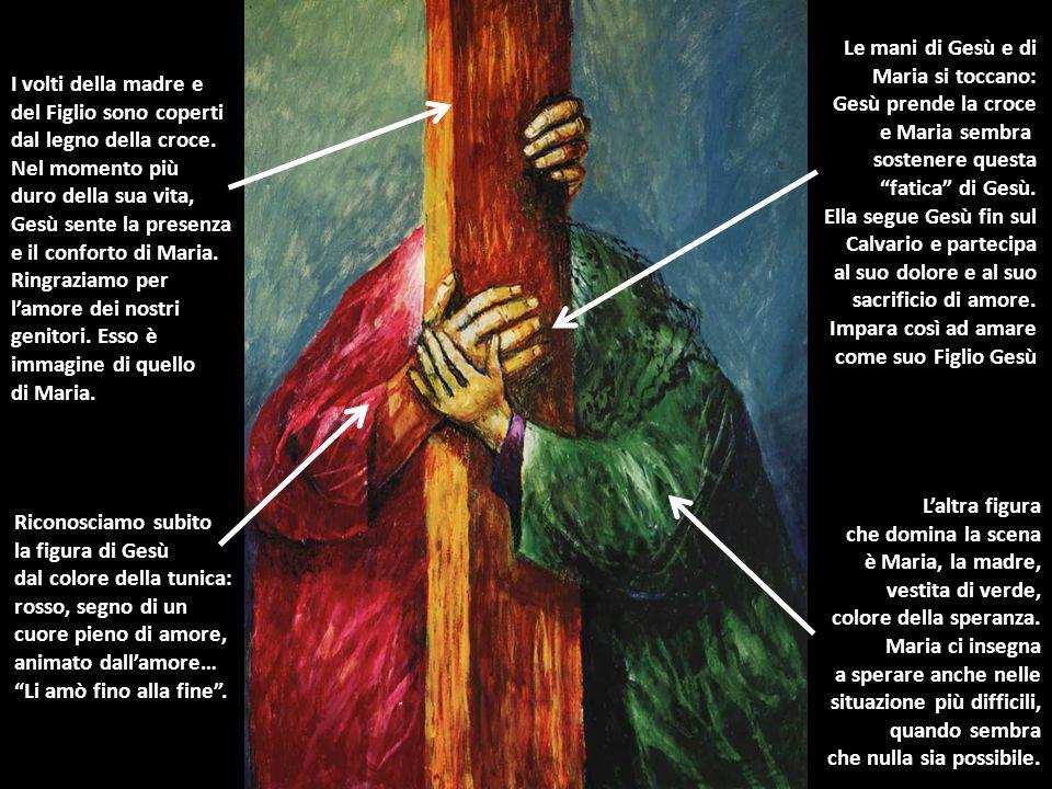 """Riconosciamo subito la figura di Gesù dal colore della tunica: rosso, segno di un cuore pieno di amore, animato dall'amore… """"Li amò fino alla fine"""". L"""