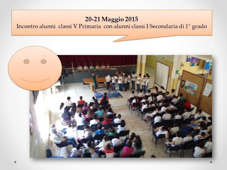 20-21 Maggio 2015 Incontro alunni classi V Primaria con alunni classi I Secondaria di 1° grado 20-21 Maggio 2015 Incontro alunni classi V Primaria con