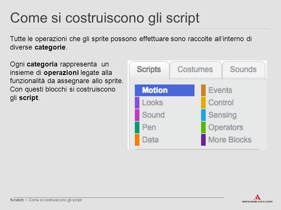 Tutte le operazioni che gli sprite possono effettuare sono raccolte all'interno di diverse categorie. Ogni categoria rappresenta un insieme di operazi