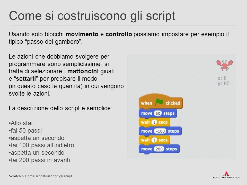 """Come si costruiscono gli script Usando solo blocchi movimento e controllo possiamo impostare per esempio il tipico """"passo del gambero"""". Le azioni che"""