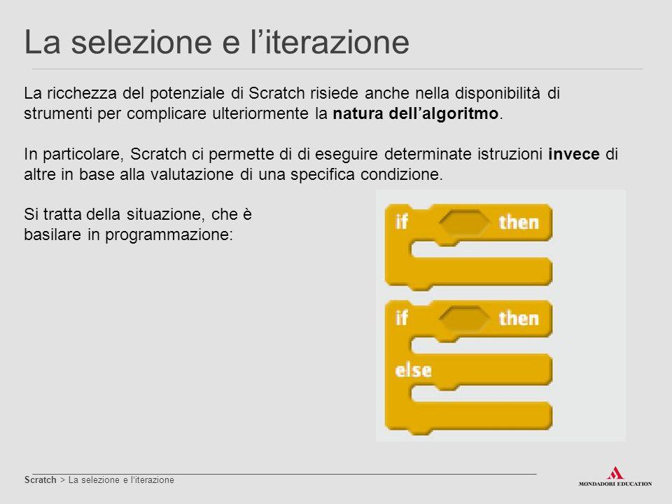 La ricchezza del potenziale di Scratch risiede anche nella disponibilità di strumenti per complicare ulteriormente la natura dell'algoritmo. In partic