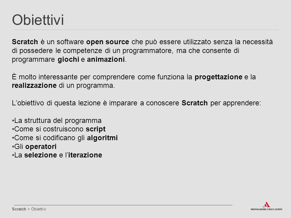 Scratch è un software open source che può essere utilizzato senza la necessità di possedere le competenze di un programmatore, ma che consente di prog