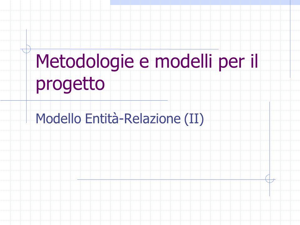 Metodologie e modelli per il progetto Modello Entità-Relazione (II)