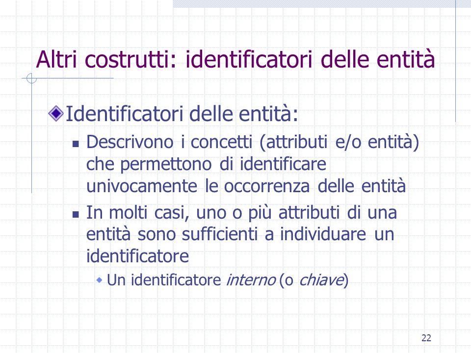 22 Altri costrutti: identificatori delle entità Identificatori delle entità: Descrivono i concetti (attributi e/o entità) che permettono di identificare univocamente le occorrenza delle entità In molti casi, uno o più attributi di una entità sono sufficienti a individuare un identificatore  Un identificatore interno (o chiave)