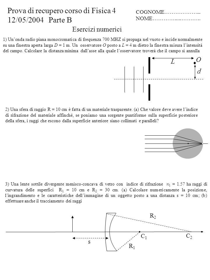 Esercizi numerici 3) Una lente sottile divergente menisco-concava di vetro con indice di rifrazione n 1 = 1.57 ha raggi di curvatura delle superfici R 1 = 10 cm e R 2 = 30 cm.