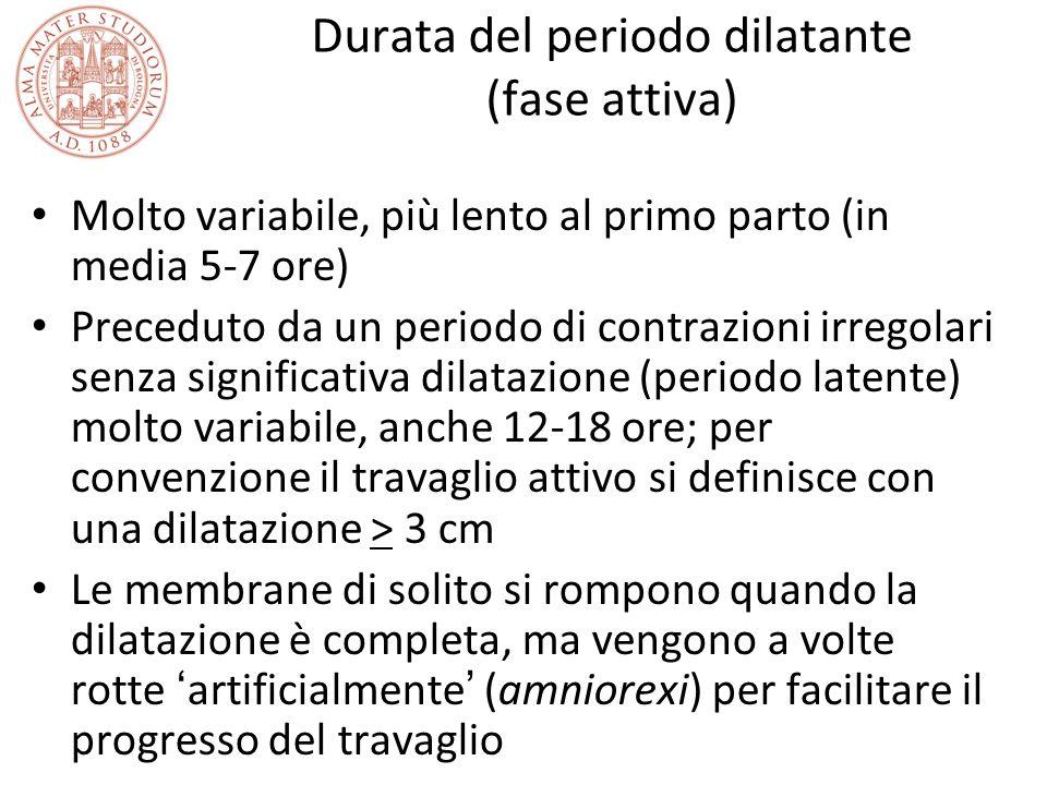Durata del periodo dilatante (fase attiva) Molto variabile, più lento al primo parto (in media 5-7 ore) Preceduto da un periodo di contrazioni irregol
