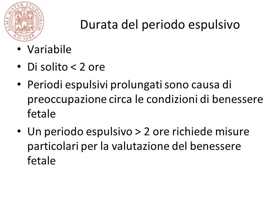 Durata del periodo espulsivo Variabile Di solito < 2 ore Periodi espulsivi prolungati sono causa di preoccupazione circa le condizioni di benessere fe
