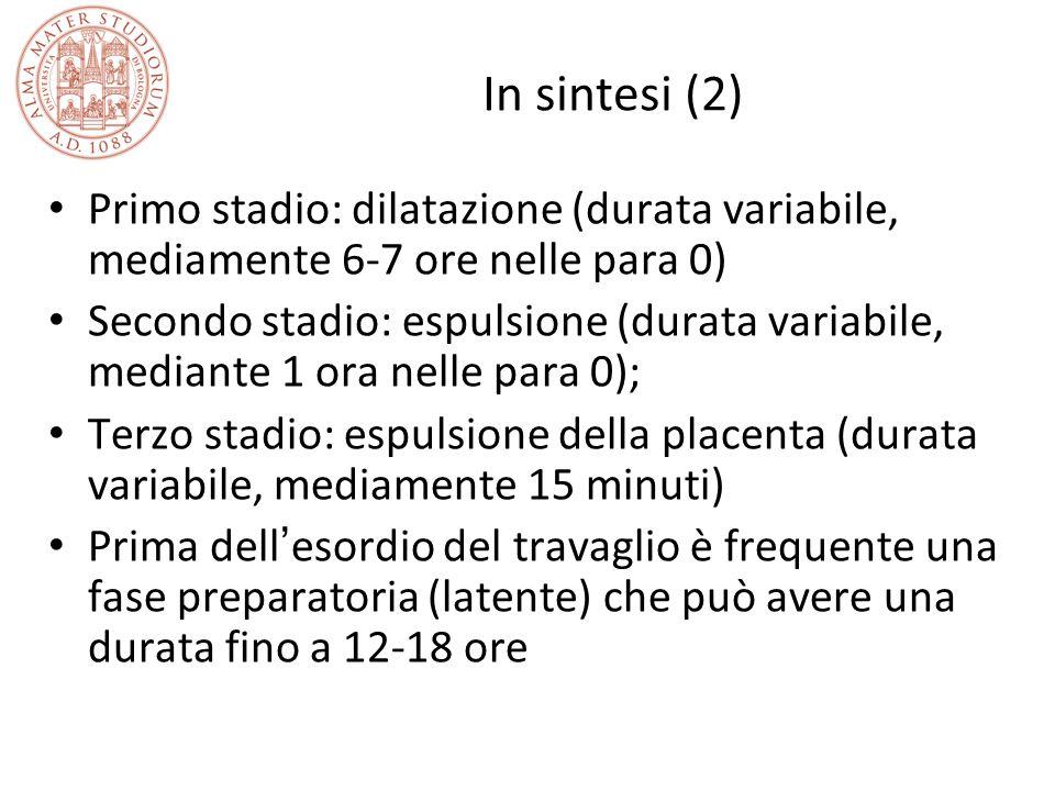 In sintesi (2) Primo stadio: dilatazione (durata variabile, mediamente 6-7 ore nelle para 0) Secondo stadio: espulsione (durata variabile, mediante 1