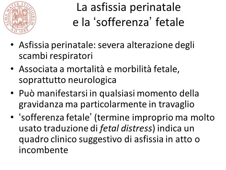 La asfissia perinatale e la ' sofferenza ' fetale Asfissia perinatale: severa alterazione degli scambi respiratori Associata a mortalità e morbilità f