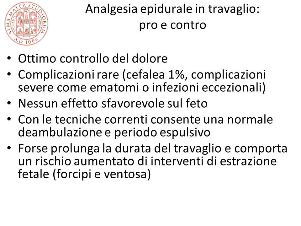 Analgesia epidurale in travaglio: pro e contro Ottimo controllo del dolore Complicazioni rare (cefalea 1%, complicazioni severe come ematomi o infezio