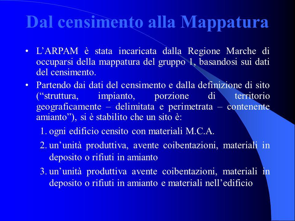 Dal censimento alla Mappatura L'ARPAM è stata incaricata dalla Regione Marche di occuparsi della mappatura del gruppo 1, basandosi sui dati del censimento.