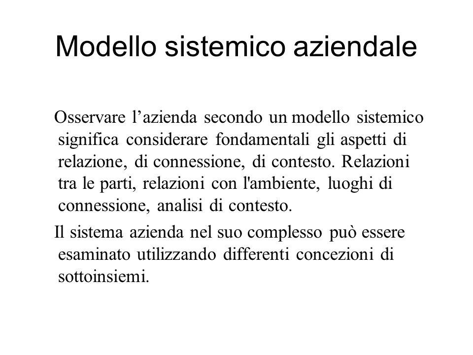 Modello sistemico aziendale Osservare l'azienda secondo un modello sistemico significa considerare fondamentali gli aspetti di relazione, di connessione, di contesto.